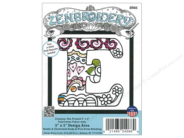 "Design Works Zenbroidery Fabric 5""x 5"" Letter E"