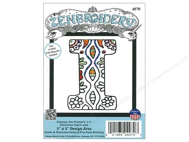 "Design Works Zenbroidery Fabric 5""x 5"" Letter I"