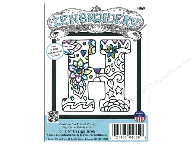 "Design Works Zenbroidery Fabric 5""x 5"" Letter H"