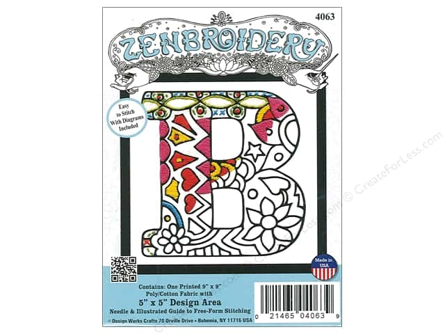"Design Works Zenbroidery Fabric 5""x 5"" Letter B"