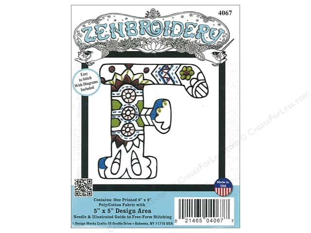 "Design Works Zenbroidery Fabric 5""x 5"" Letter F"
