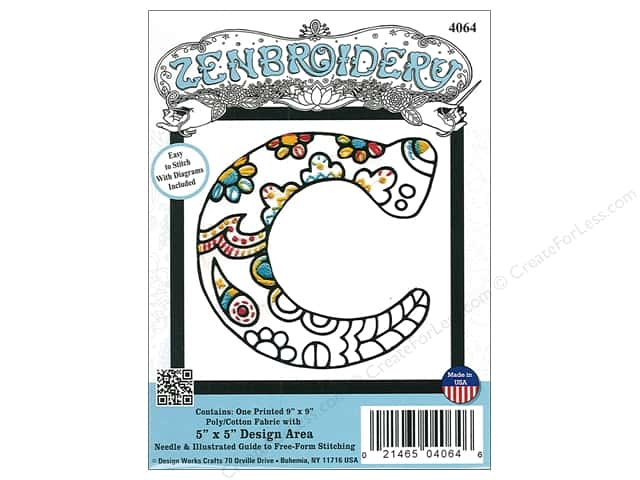 "Design Works Zenbroidery Fabric 5""x 5"" Letter C"