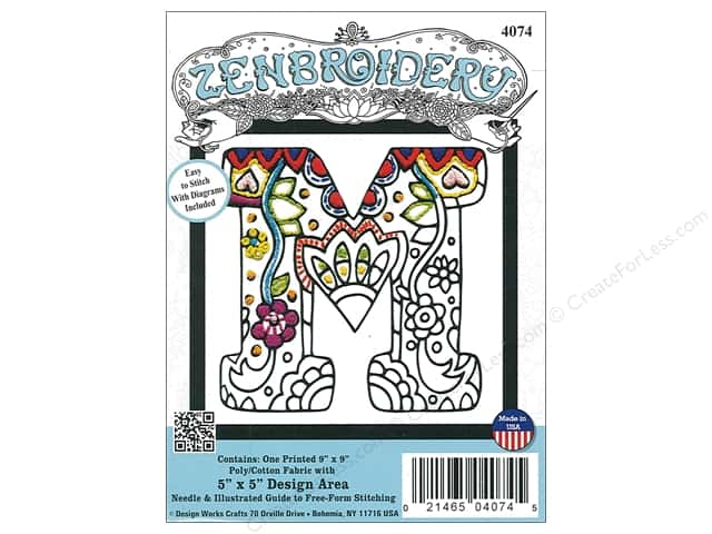 "Design Works Zenbroidery Fabric 5""x 5"" Letter M"