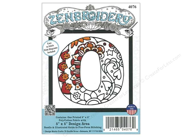 "Design Works Zenbroidery Fabric 5""x 5"" Letter O"