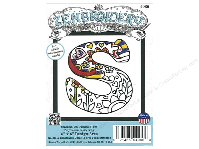 "Design Works Zenbroidery Fabric 5""x 5"" Letter S"