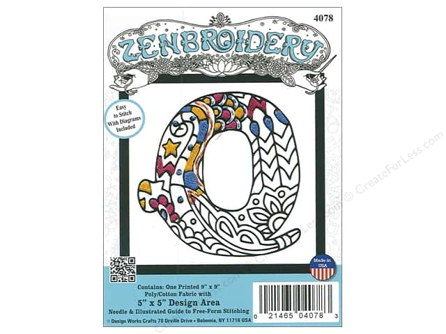 """Design Works Zenbroidery Fabric 5""""x 5"""" Letter Q"""