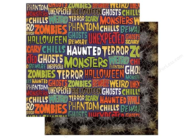 "Carta Bella Collection Haunted House Paper  12""x 12"" Ghastly Words (25 pieces)"