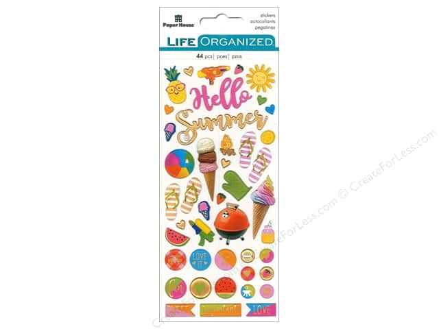 Paper House Collection Life Organized Sticker Puffy Summer Fun