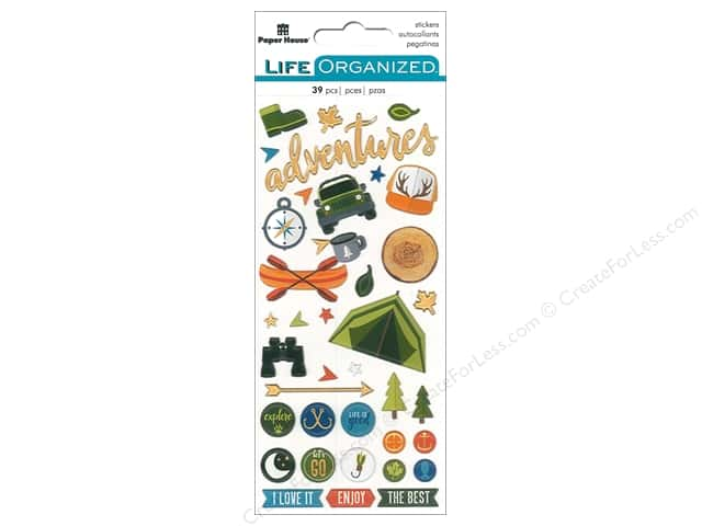 Paper House Life Organized Collection Sticker Puffy Outdoors