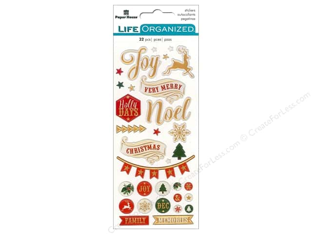 Paper House Collection Life Organized Sticker Puffy Christmas