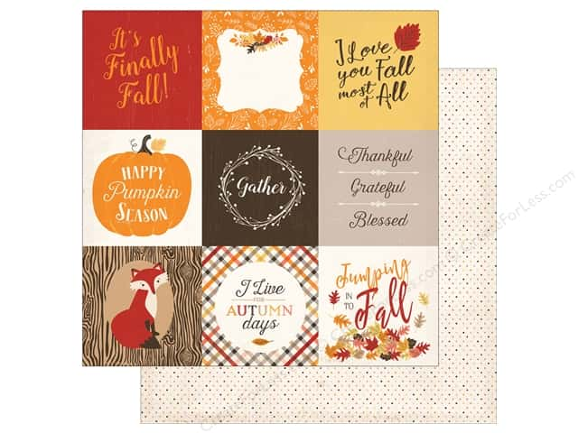 "Carta Bella Collection Hello Fall Paper 12""x 12"" Journal Card 4""x 4"" (25 pieces)"