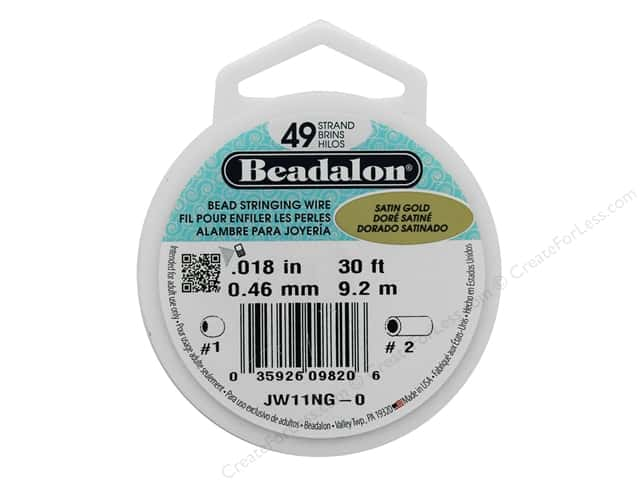 "Beadalon Bead Wire 49 Strand .018"" Satin Gold 30'"