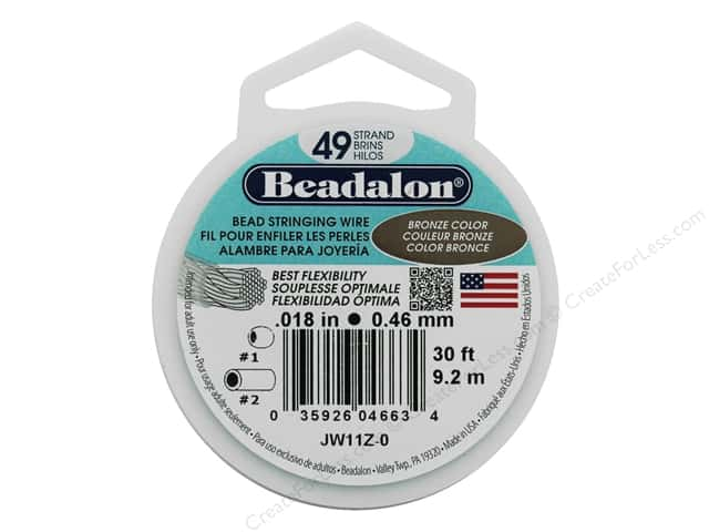 "Beadalon Bead Wire 49 Strand .018"" Bronze Color 30'"