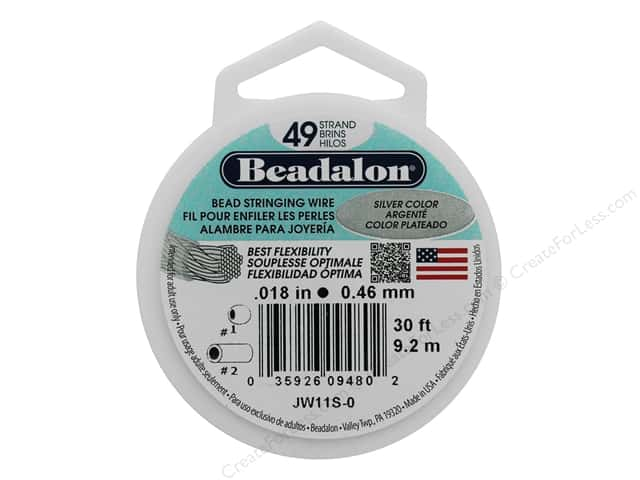 "Beadalon Bead Wire 49 Strand .018"" Silver Color 30'"