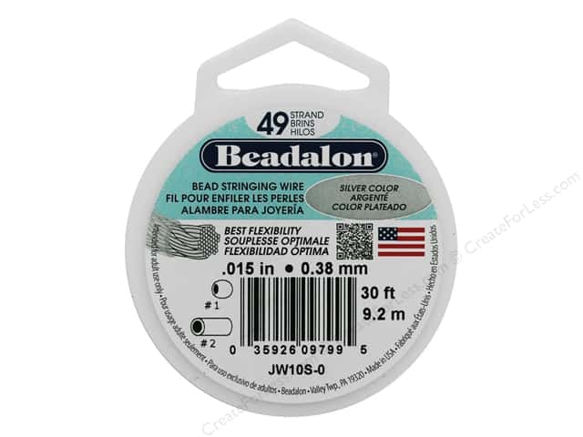 "Beadalon Bead Wire 49 Strand .015"" Silver Color 30'"