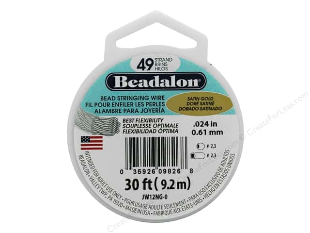 "Beadalon Bead Wire 49 Strand .024"" Satin Gold 30'"