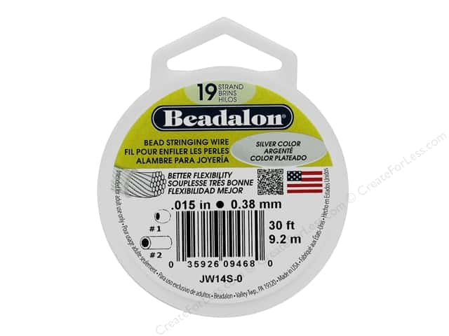"Beadalon Bead Wire 19 Strand .015"" Silver Color 30'"