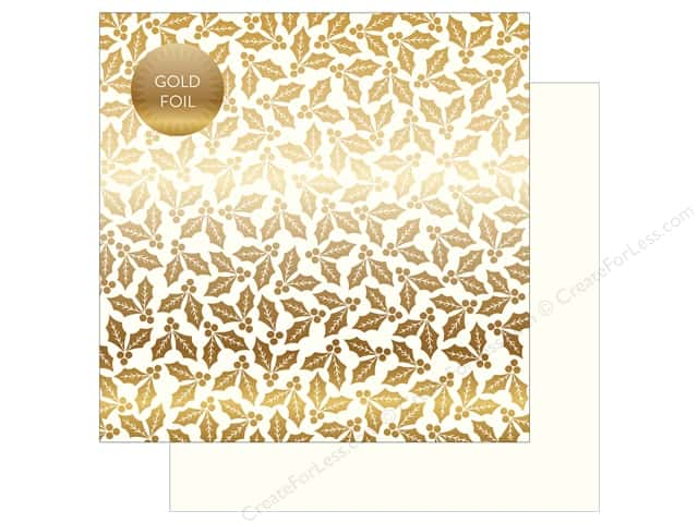 Carta Bella Collection Holly & Berries Paper 12 in. x 12 in.  Foil White (25 pieces)