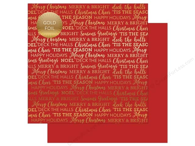 "Carta Bella Collection Holiday Sentiments Paper 12""x 12"" Foil Red (25 pieces)"