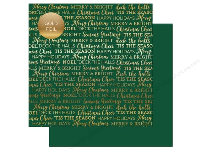 "Carta Bella Collection Holiday Sentiments Paper 12""x 12"" Foil Green (25 pieces)"