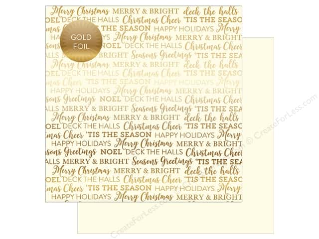 "Carta Bella Collection Holiday Sentiments Paper 12""x 12"" Foil Cream (25 pieces)"
