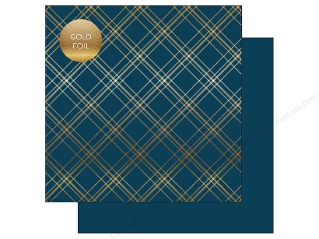 "Carta Bella Collection Seasonal Plaid Paper 12""x 12"" Foil Navy (25 pieces)"