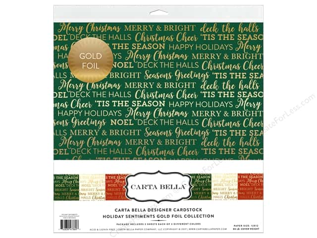 "Carta Bella Collection Holiday Sentiments Collection Kit 12""x 12"" Gold Foil"