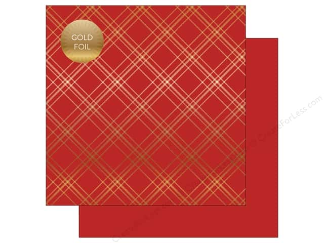 "Carta Bella Collection Seasonal Plaid Paper 12""x 12"" Foil Red (25 pieces)"