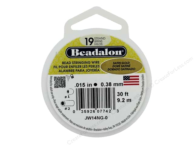 "Beadalon Bead Wire 19 Strand .015"" Satin Gold 30'"