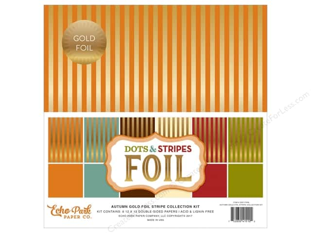 Echo Park Collection Dots & Stripes Autumn Gold Stripe Collection Kit 12 in. x 12 in.