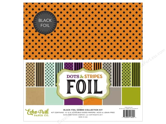 Echo Park Collection Dots & Stripes Black Foil Combo Collection Kit 12 in. x 12 in.