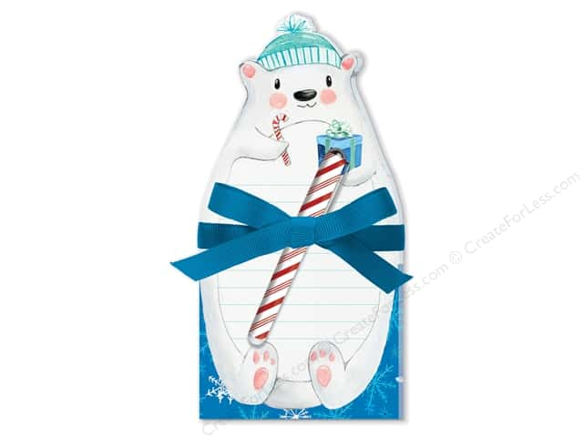 Lady Jayne Note Pad Holiday Die Cut With Pen Polar Bear