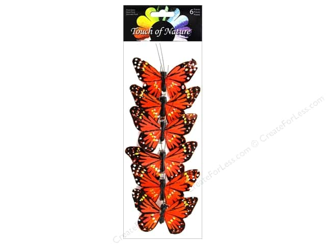 "Midwest Design Butterfly 3"" Feather Monarch Orange 6 pc"