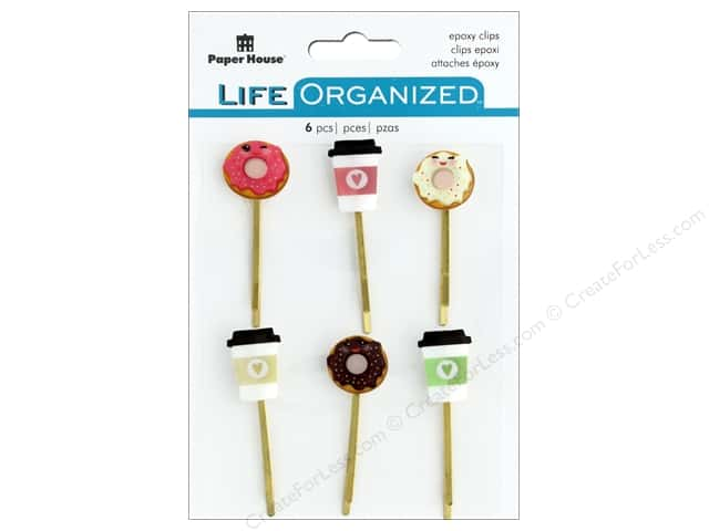 Paper House Collection Life Organized Epoxy Clips Coffee/Donuts