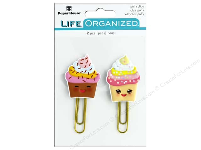Paper House Collection Life Organized Puffy Clips Kawaii Cupcakes