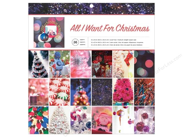 American Crafts Paper Pad 12 in. x 12 in. Holiday Phot All I Want for Christmas