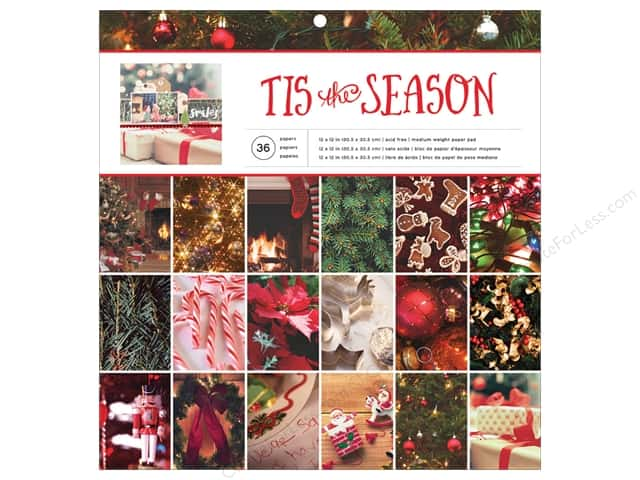 American Crafts Paper Pad 12 in. x 12 in. Holiday Photo Tis The Season