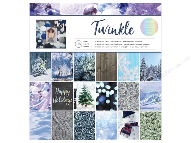 "American Crafts Paper Pad 12""x 12"" Holiday Photo Twinkle"
