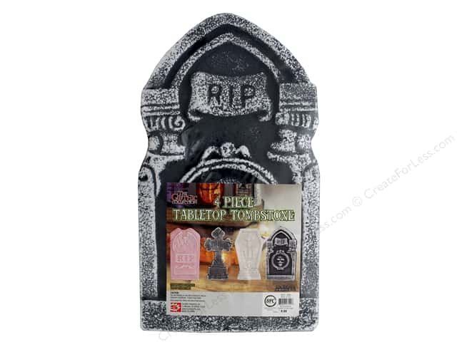 Sierra Pacific Crafts Decor Table Top Tombstone 4 pc Red/Black/Grey