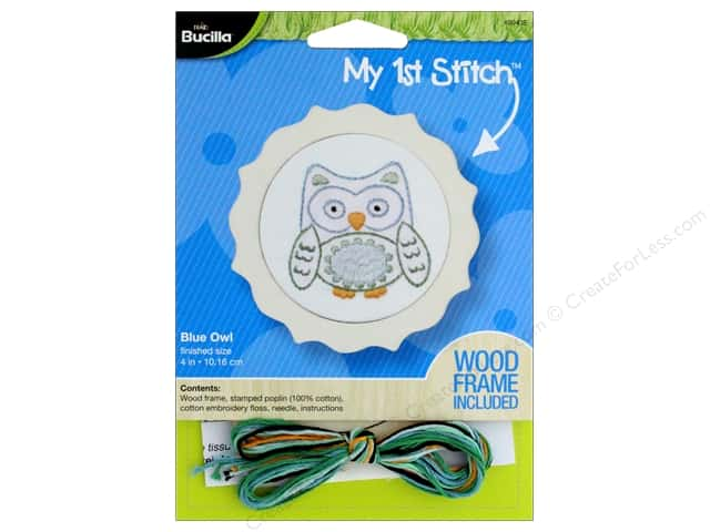 Bucilla Embroidery Kit Stamped My 1st Stitch Blue Owl
