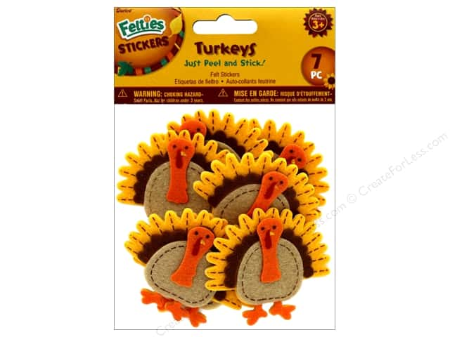 Darice Felties Sticker Harvest Turkeys 7 pc