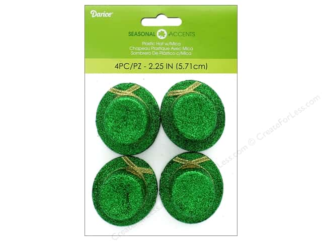 Darice Plastic Hat St Patrick Green/Gold 4pc