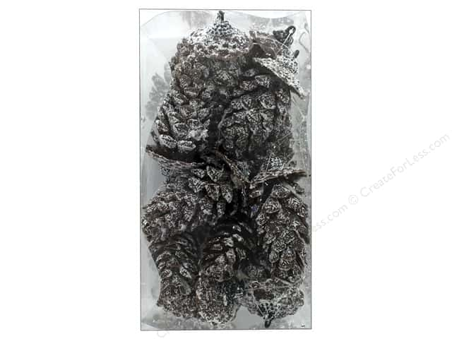 Sierra Pacific Crafts Decor Pinecones Glittered In Box 12 pc Natural