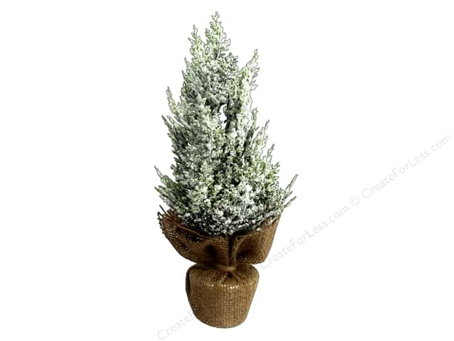 Sierra Pacific Crafts Decor Tree Cedar Glittery With Burlap Base 12 in. Green/White