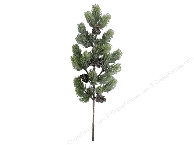 Sierra Pacific Crafts Decor Plastic Spray Pine With Pinecones 19 in. Green/White