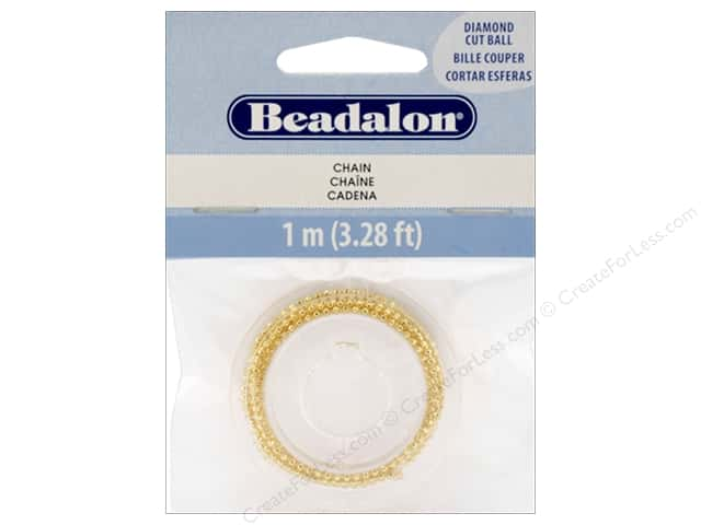 Beadalon Chain Ball Diamond Cut 1 mm Gold 1 M