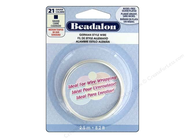 Beadalon German Style Wire 21ga Square Silver Plated 8.2 ft.