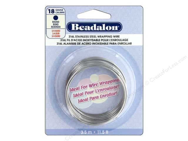 Beadalon 316L Stainless Steel Wrapping Wire 18 ga Round 11 1/2 ft.