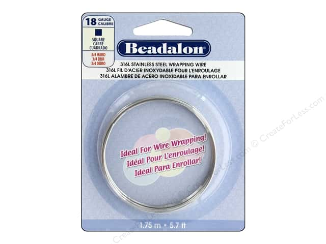Beadalon 316L Stainless Steel Wrapping Wire 18 ga Square 5.7 ft.
