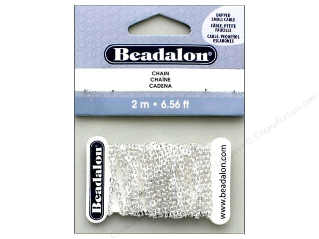 Beadalon Chain Cable Dapped Small 2.3mm Silver Plate 2M